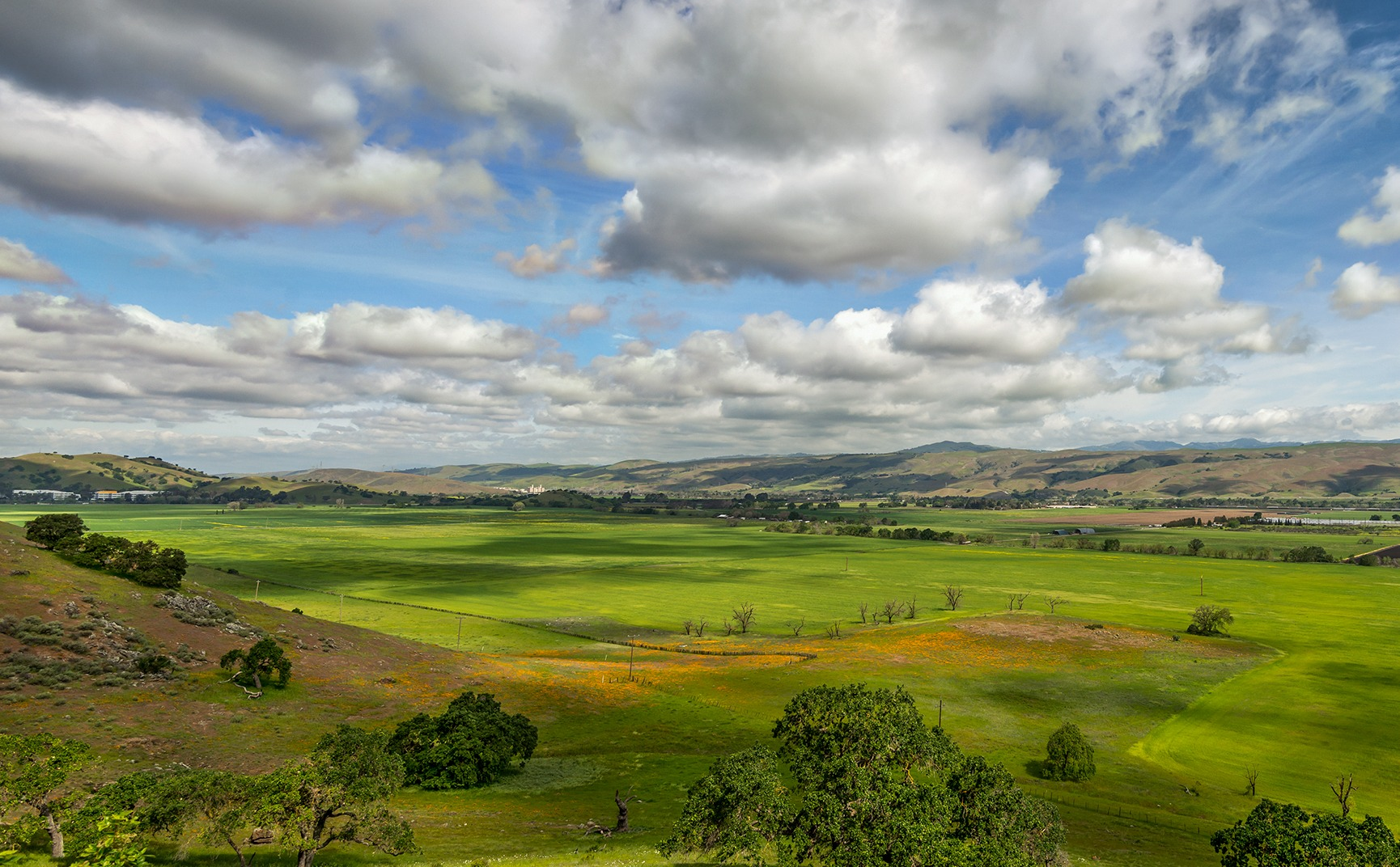 Green Coyote Valley under blue sky with clouds