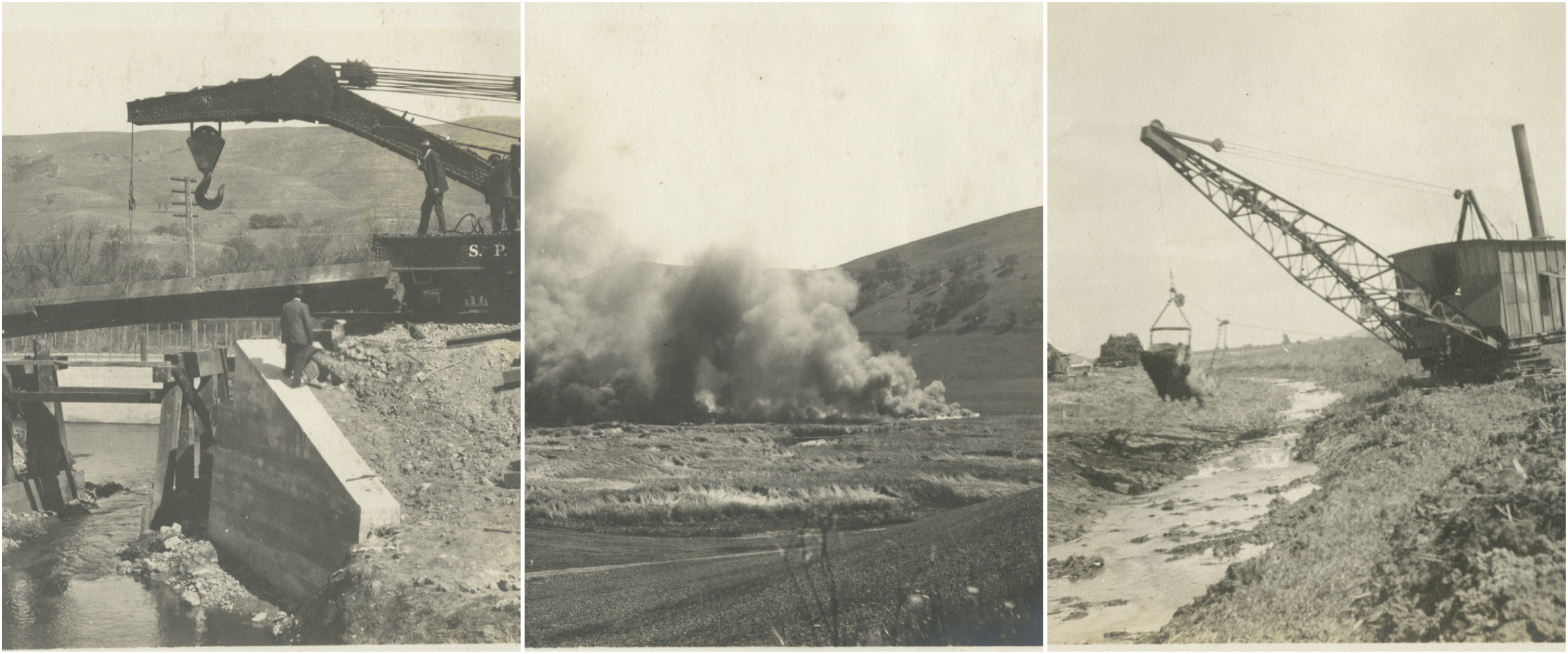 Historic photos of the destructive tactics used during the 1916 reclamation of the Laguna Seca
