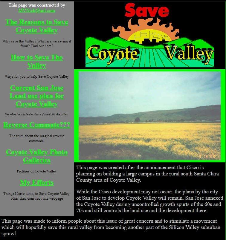 Nick Perry - Coyote Valley Website - 1999 - 1