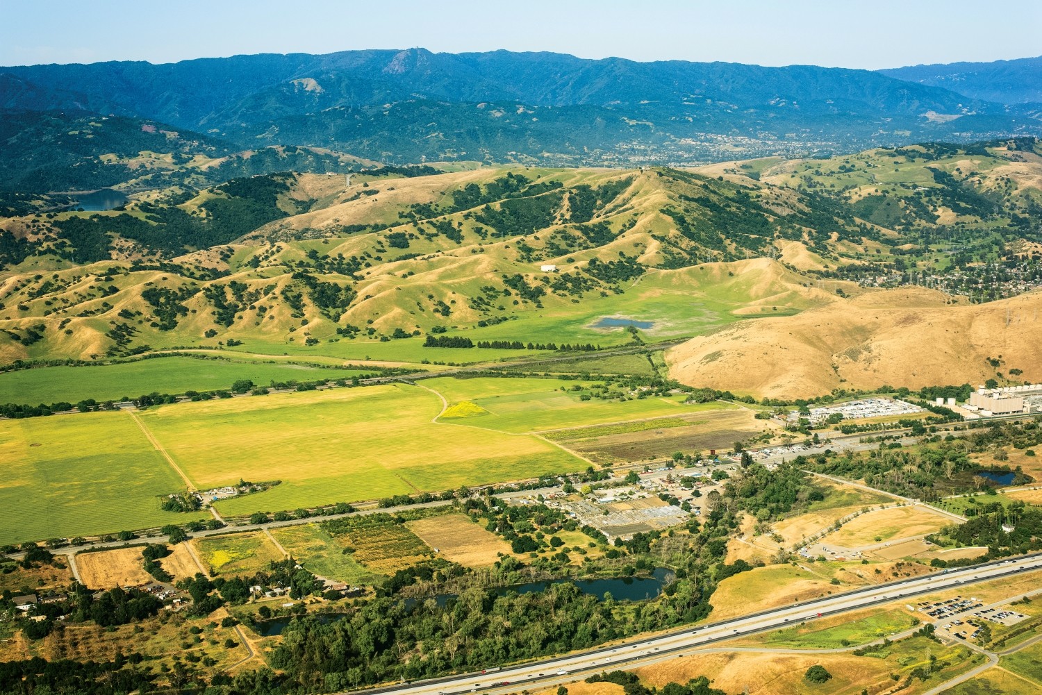Aerial view of North Coyote Valley looking west across the Santa Cruz Mountains