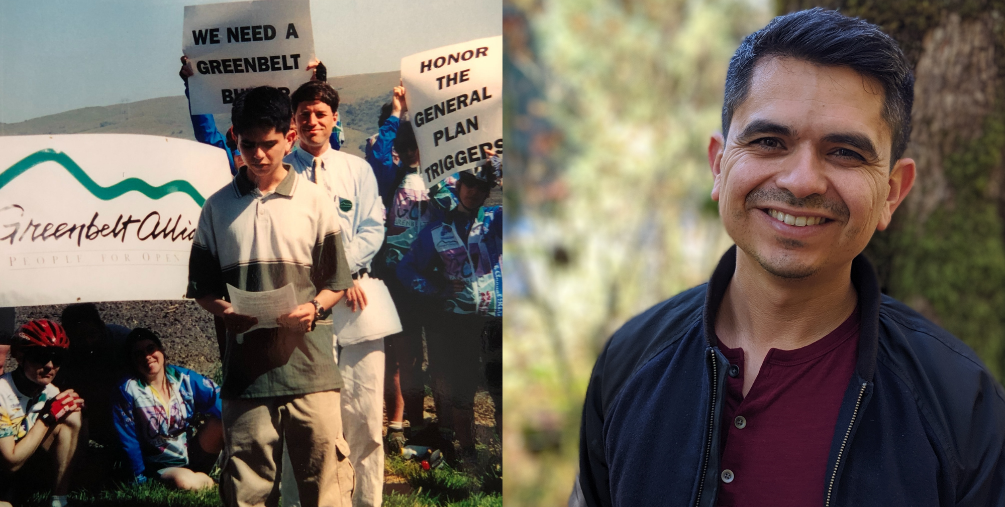 Photo of Nick Perry as a teen at Greenbelt Alliance press conference next to his current staff headshot